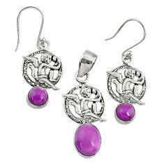 6.02cts natural phosphosiderite (hope stone) silver pendant earrings set r70015