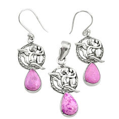 5.23cts natural phosphosiderite (hope stone) silver pendant earrings set r70016
