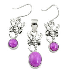 5.42cts natural phosphosiderite (hope stone) silver pendant earrings set r70018