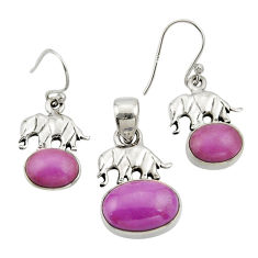 12.30cts natural phosphosiderite 925 silver elephant pendant earrings set r26561