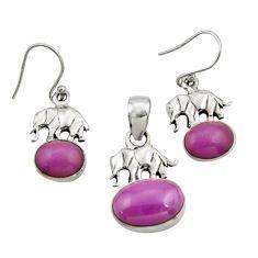 9.92cts natural phosphosiderite 925 silver elephant pendant earrings set r26570
