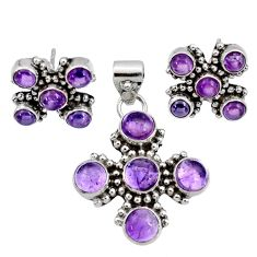 Clearance Sale- 11.73cts natural purple amethyst 925 sterling silver pendant earrings set d44403