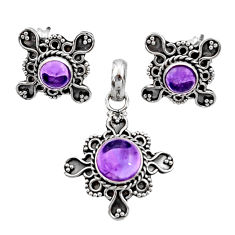 Clearance Sale- 5.42cts natural purple amethyst 925 sterling silver pendant earrings set d44405