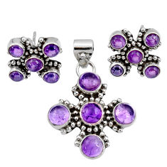 Clearance Sale- 11.36cts natural purple amethyst 925 sterling silver pendant earrings set d44440