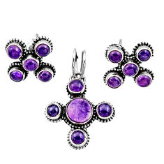Clearance Sale- 8.03cts natural purple amethyst 925 sterling silver pendant earrings set d44442