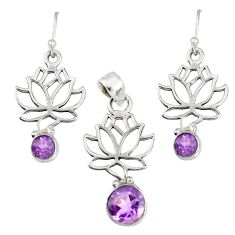 5.75cts natural purple amethyst 925 sterling silver pendant earrings set r76905