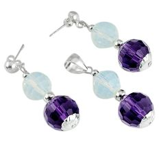 37.25cts natural purple amethyst opalite beadssilver pendant earrings set c21040