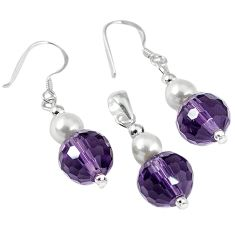 15.31cts natural purple amethyst pearl 925 silver pendant earrings set c21032