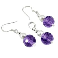 15.92cts natural purple amethyst pearl 925 silver pendant earrings set c21038