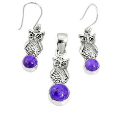 5.63cts natural purple charoite (siberian) silver pendant earrings set r69982