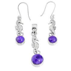 6.33cts natural purple charoite (siberian) silver pendant earrings set r69986