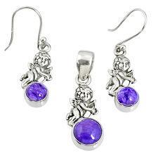 6.33cts natural purple charoite (siberian) silver pendant earrings set r69987