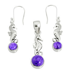 6.39cts natural purple charoite (siberian) silver pendant earrings set r69990
