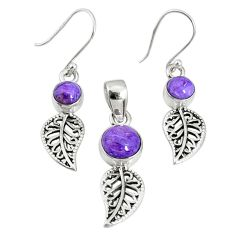 5.97cts natural purple charoite (siberian) silver pendant earrings set r69995