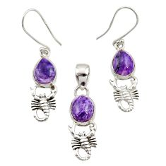 10.53cts natural purple charoite silver scorpion pendant earrings set d44510