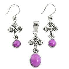 6.33cts natural purple phosphosiderite 925 silver pendant earrings set r70013