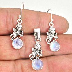 7.32cts natural rainbow moonstone 925 silver angel pendant earrings set r70258