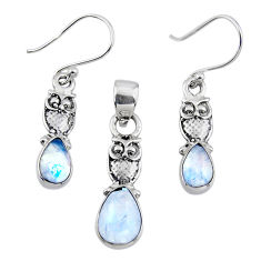 5.87cts natural rainbow moonstone 925 silver owl pendant earrings set r55737