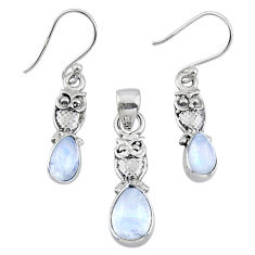5.79cts natural rainbow moonstone 925 silver owl pendant earrings set r55758