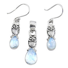 6.30cts natural rainbow moonstone 925 silver owl pendant earrings set r55759