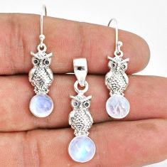 5.95cts natural rainbow moonstone 925 silver owl pendant earrings set r70025