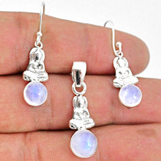 5.09cts natural rainbow moonstone 925 silver pendant earrings set jewelry r70032