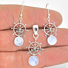 5.68cts natural rainbow moonstone 925 silver pendant earrings set jewelry r70034
