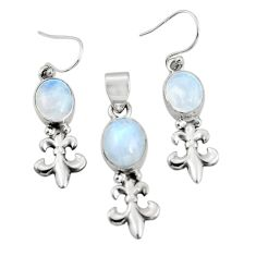 12.04cts natural rainbow moonstone 925 silver pendant earrings set r20999