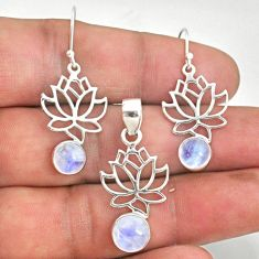 6.32cts natural rainbow moonstone flower 925 silver pendant earrings set r70056