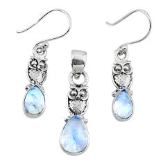 6.31cts natural rainbow moonstone owl 925 silver pendant earrings set r55733