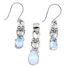 6.30cts natural rainbow moonstone owl 925 silver pendant earrings set r55734