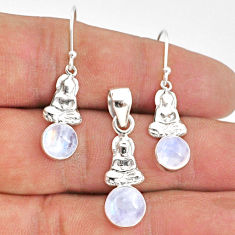5.72cts natural rainbow moonstone round 925 silver pendant earrings set r70028
