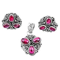 10.42cts natural red garnet 925 sterling silver pendant earrings set d44421