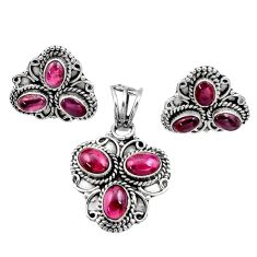 10.38cts natural red garnet 925 sterling silver pendant earrings set d44473