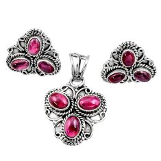 10.38cts natural red garnet 925 sterling silver pendant earrings set d44474