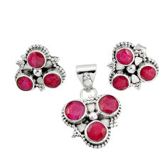 8.65cts natural red ruby 925 sterling silver pendant earrings set jewelry r20938