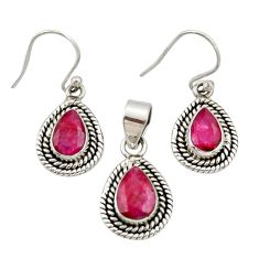 5.42cts natural red ruby 925 sterling silver pendant earrings set jewelry r27394
