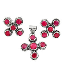 13.34cts natural red ruby 925 sterling silver pendant earrings set r20937