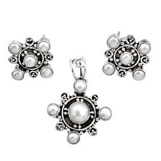 Clearance Sale- 9.62cts natural white pearl 925 sterling silver pendant earrings set d44401