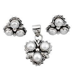 7.62cts natural white pearl 925 sterling silver pendant earrings set d44415