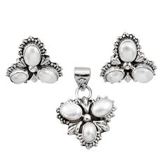 10.16cts natural white pearl 925 sterling silver pendant earrings set d44434