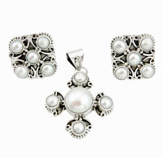 16.42cts natural white pearl 925 sterling silver pendant earrings set r20941