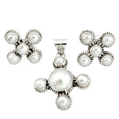 15.94cts natural white pearl 925 sterling silver pendant earrings set r20942