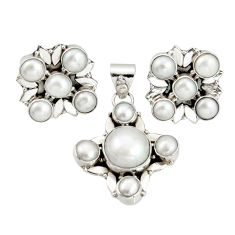 16.28cts natural white pearl 925 sterling silver pendant earrings set r20943