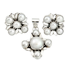 16.65cts natural white pearl 925 sterling silver pendant earrings set r20945