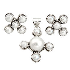 16.22cts natural white pearl 925 sterling silver pendant earrings set r20946