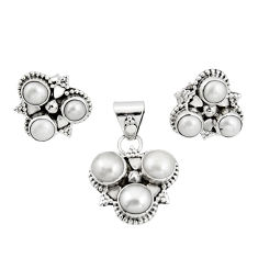 9.32cts natural white pearl 925 sterling silver pendant earrings set r20980