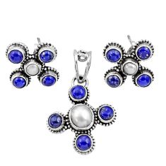 Clearance Sale- 8.27cts natural white pearl lapis lazuli 925 silver pendant earrings set d44458