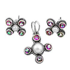 Clearance Sale- 7.98cts natural white pearl rainbow topaz 925 silver pendant earrings set d44459