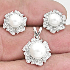 10.49cts natural white pearl topaz 925 silver pendant earrings set c25494